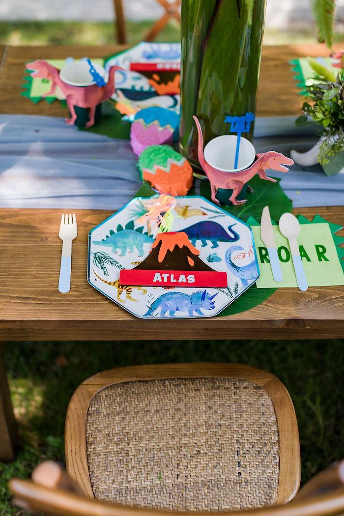 Dinosaur Themed Table Setting from a Rawrsome Dinosaur Drive-By Birthday Parade on Kara's Party Ideas | KarasPartyIdeas.com (46)