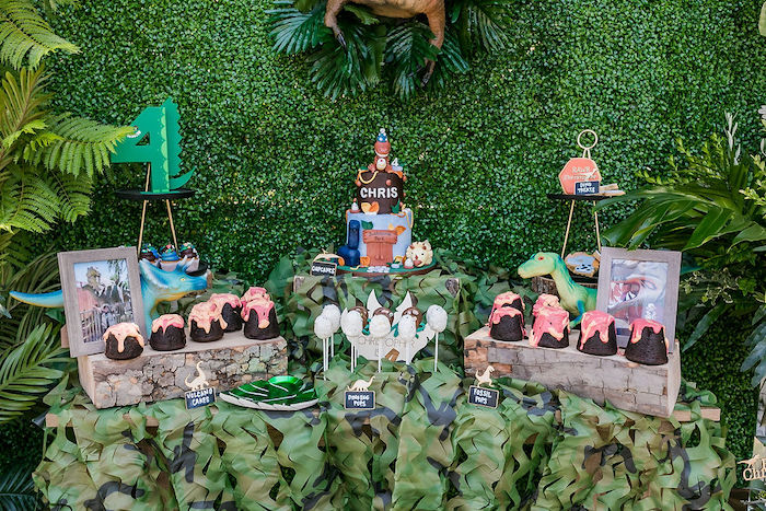 Dinosaur Themed Dessert Table from a Rawrsome Dinosaur Drive-By Birthday Parade on Kara's Party Ideas | KarasPartyIdeas.com (16)