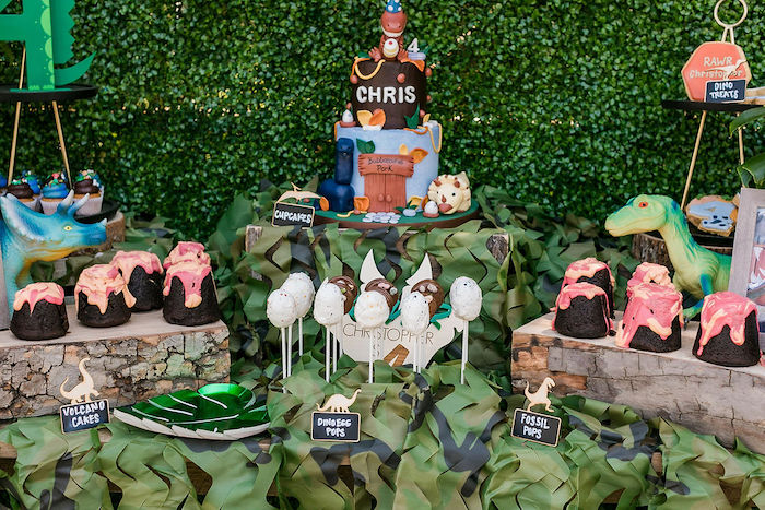 Dinosaur Themed Dessert Table from a Rawrsome Dinosaur Drive-By Birthday Parade on Kara's Party Ideas | KarasPartyIdeas.com (15)