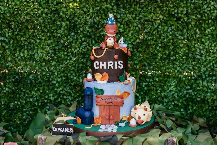 Dinosaur Themed Birthday Cake from a Rawrsome Dinosaur Drive-By Birthday Parade on Kara's Party Ideas | KarasPartyIdeas.com (13)