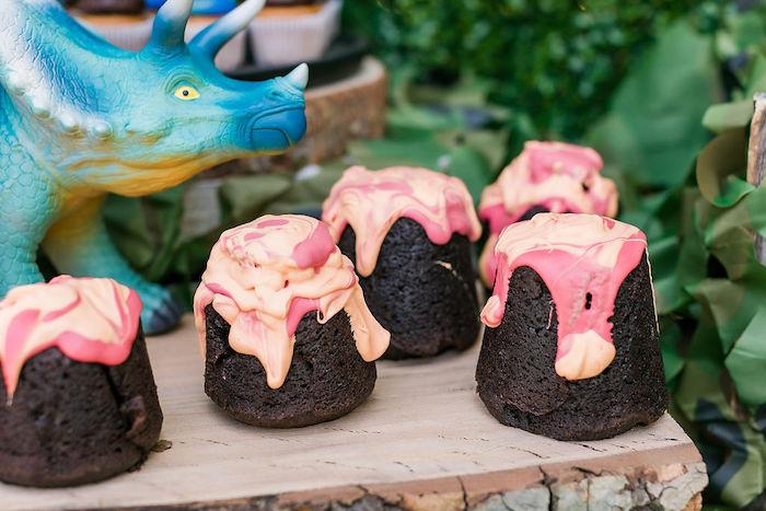 Volcano Cakes from a Rawrsome Dinosaur Drive-By Birthday Parade on Kara's Party Ideas | KarasPartyIdeas.com (10)