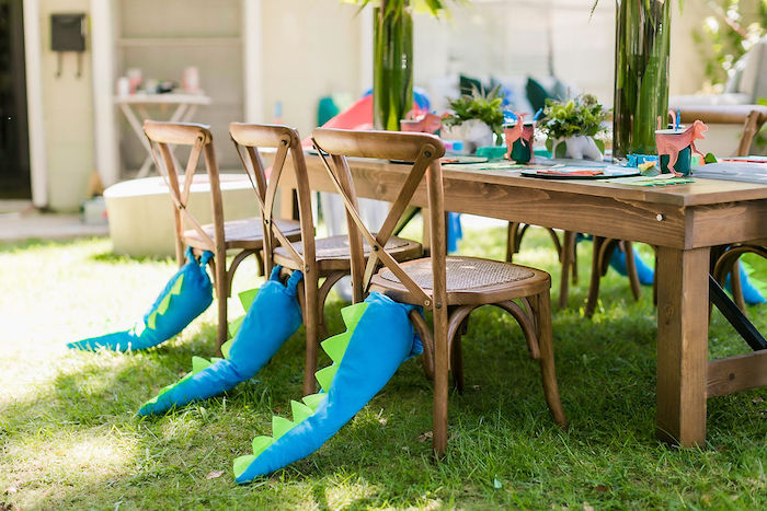 Dino Tail Chairs from a Rawrsome Dinosaur Drive-By Birthday Parade on Kara's Party Ideas | KarasPartyIdeas.com (43)