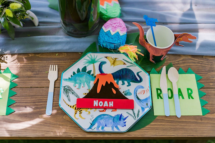 Dino Themed Table Setting from a Rawrsome Dinosaur Drive-By Birthday Parade on Kara's Party Ideas | KarasPartyIdeas.com (42)