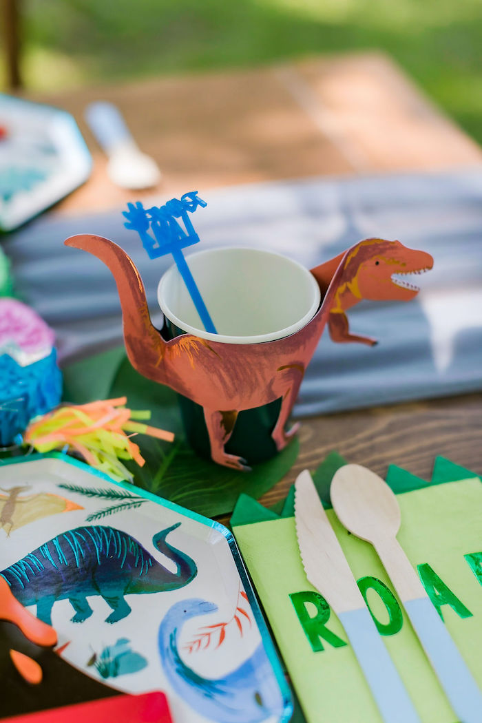 Dino Wrapped Cup from a Rawrsome Dinosaur Drive-By Birthday Parade on Kara's Party Ideas | KarasPartyIdeas.com (41)