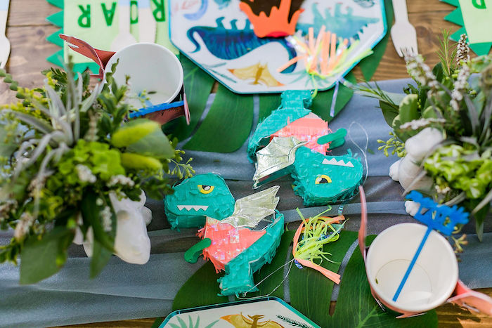 Mini Dino Pinata from a Rawrsome Dinosaur Drive-By Birthday Parade on Kara's Party Ideas | KarasPartyIdeas.com (39)