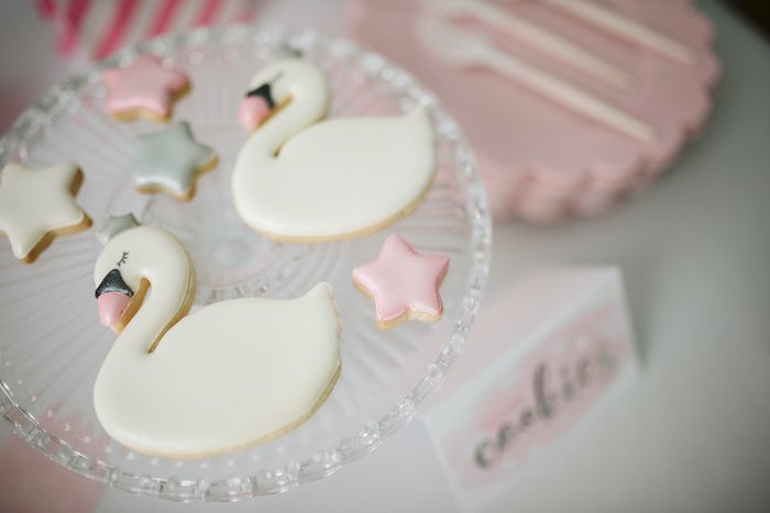Swan and Star Cookies from a Swan Lake Ballet Tea Party on Kara's Party Ideas | KarasPartyIdeas.com (20)