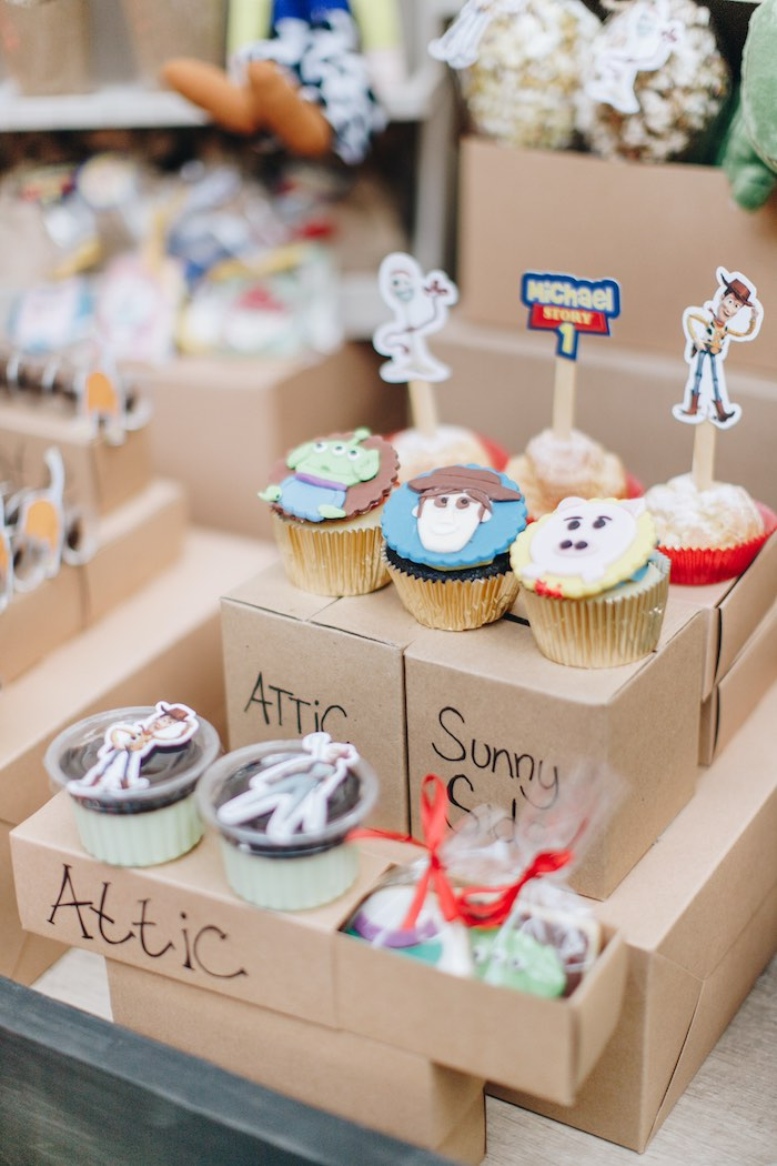 Moving Box-inspired Dessert Table Detail from a Toy Story 1st Birthday Party on Kara's Party Ideas | KarasPartyIdeas.com (30)