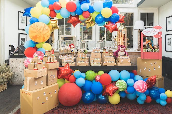 Moving Box-inspired Dessert Table from a Toy Story 1st Birthday Party on Kara's Party Ideas | KarasPartyIdeas.com (27)