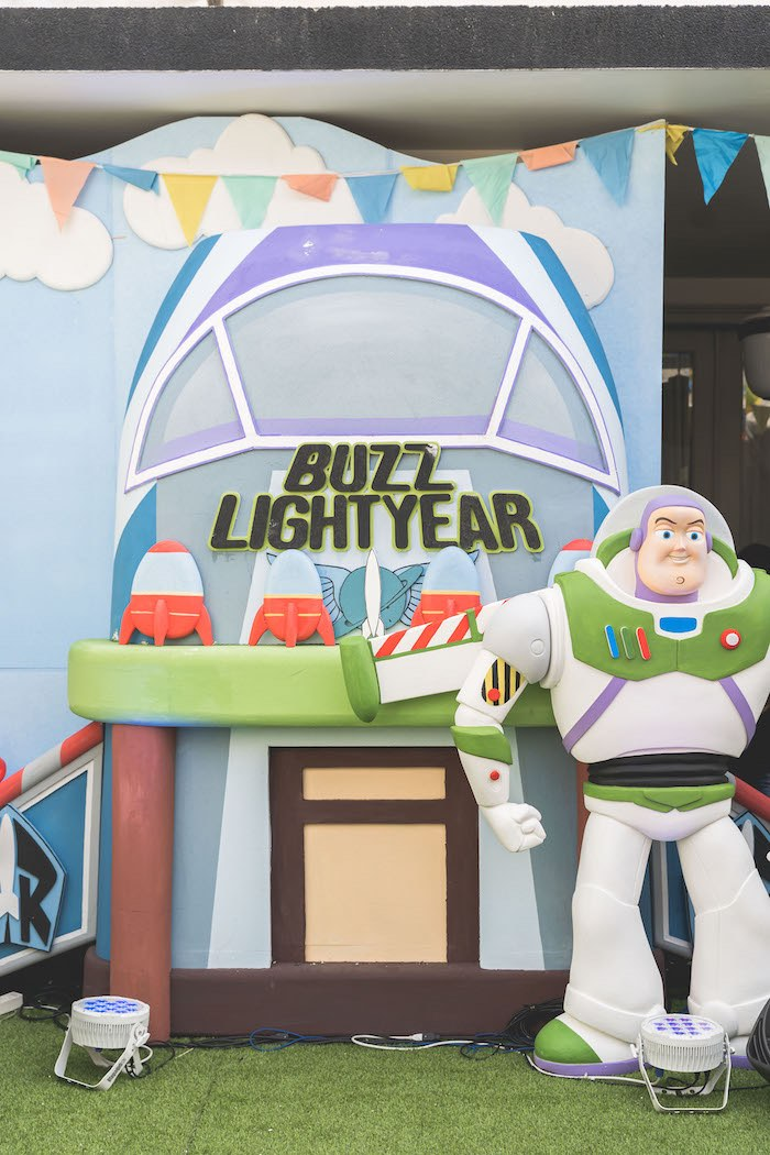 Buzz Lightyear Backdrop from a Toy Story 1st Birthday Party on Kara's Party Ideas | KarasPartyIdeas.com (24)