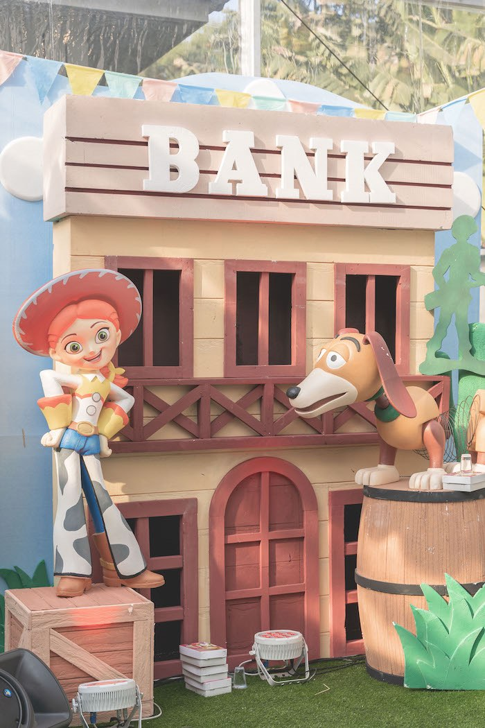 Bank Backdrop from a Toy Story 1st Birthday Party on Kara's Party Ideas | KarasPartyIdeas.com (22)