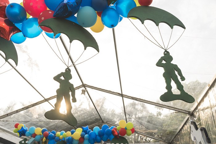 Hanging Toy Soldiers from a Toy Story 1st Birthday Party on Kara's Party Ideas | KarasPartyIdeas.com (16)