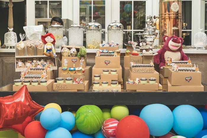 Moving Box Dessert Table + Sweets from a Toy Story 1st Birthday Party on Kara's Party Ideas | KarasPartyIdeas.com (15)
