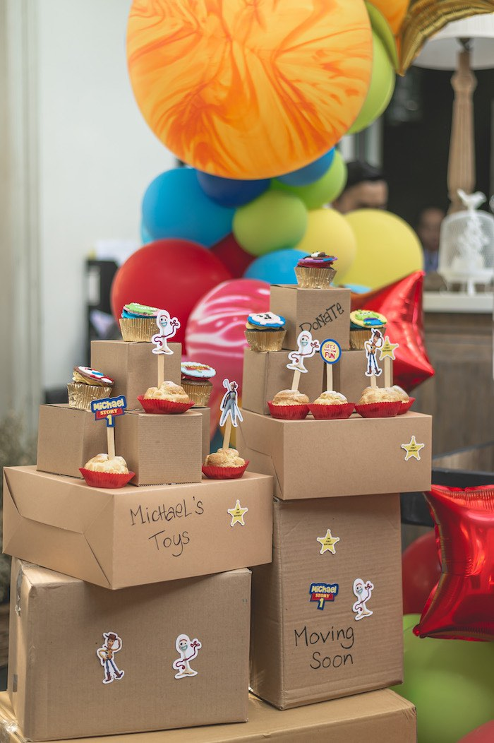 Moving Box Dessert Table + Sweets from a Toy Story 1st Birthday Party on Kara's Party Ideas | KarasPartyIdeas.com (13)