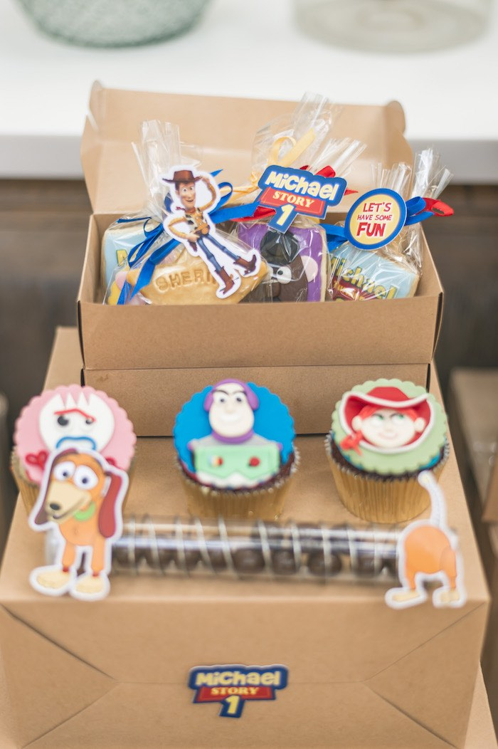 Moving Box Dessert Table + Sweets from a Toy Story 1st Birthday Party on Kara's Party Ideas | KarasPartyIdeas.com (11)