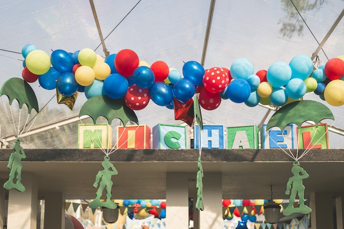 Toy Soldier Balloon Garland + Toy Block Name Sign from a Toy Story 1st Birthday Party on Kara's Party Ideas | KarasPartyIdeas.com (9)