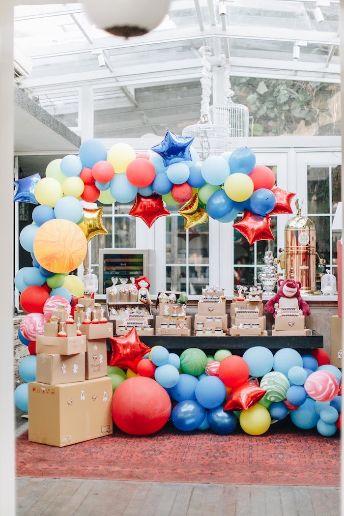Moving Box-inspired Dessert Table from a Toy Story 1st Birthday Party on Kara's Party Ideas | KarasPartyIdeas.com (31)