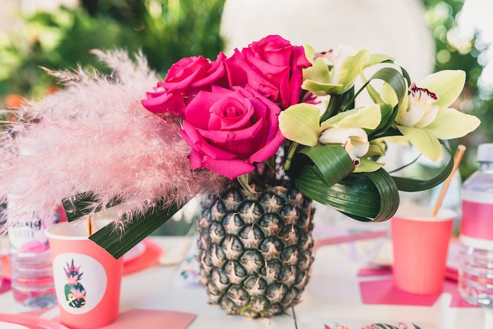 Floral Pineapple Table Centerpiece from a Tropical Flamingo Party on Kara's Party Ideas | KarasPartyIdeas.com (30)