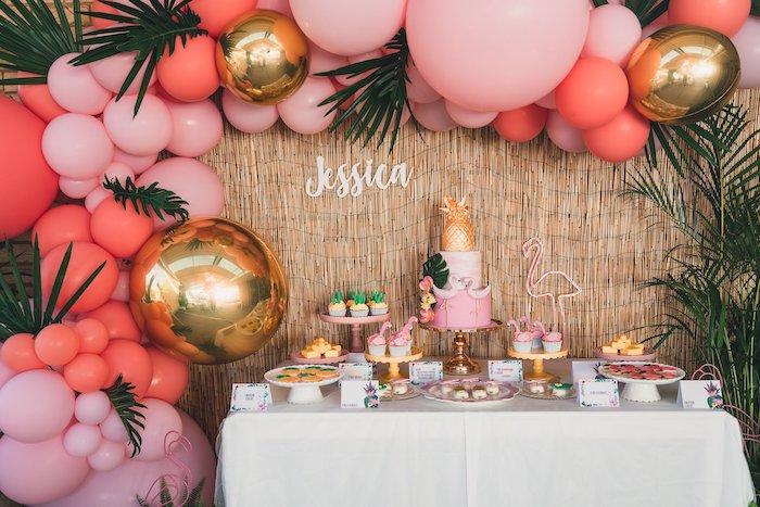 Flamingo Dessert Table from a Tropical Flamingo Party on Kara's Party Ideas | KarasPartyIdeas.com (29)