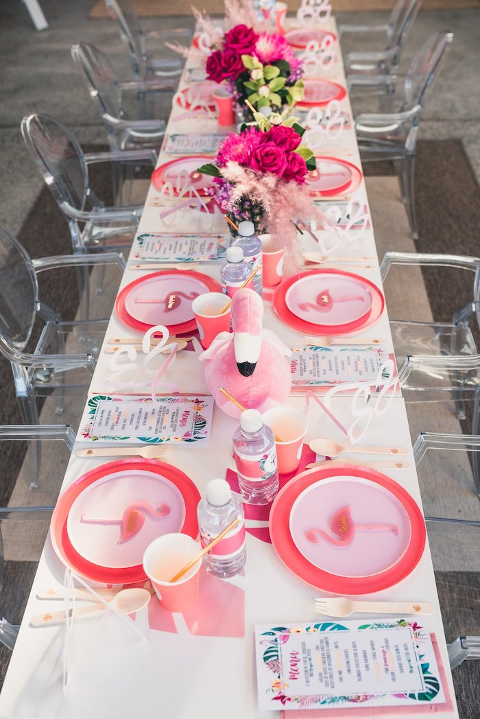 Flamingo-inspired Guest Table from a Tropical Flamingo Party on Kara's Party Ideas | KarasPartyIdeas.com (27)
