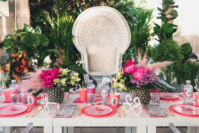 Flamingo-inspired Guest Table from a Tropical Flamingo Party on Kara's Party Ideas | KarasPartyIdeas.com (26)