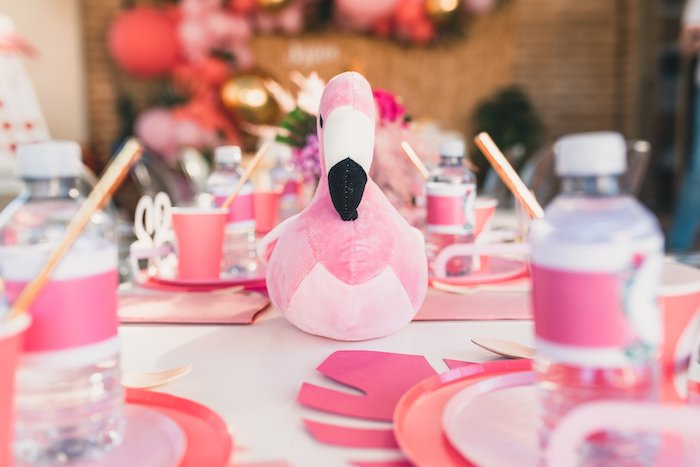 Plush Flamingo Table Centerpiece + Guest Table from a Tropical Flamingo Party on Kara's Party Ideas | KarasPartyIdeas.com (24)