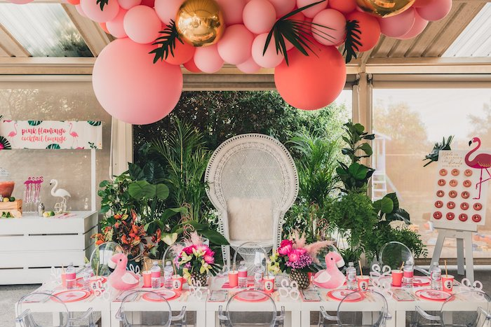 Flamingo-inspired Guest Table from a Tropical Flamingo Party on Kara's Party Ideas | KarasPartyIdeas.com (22)