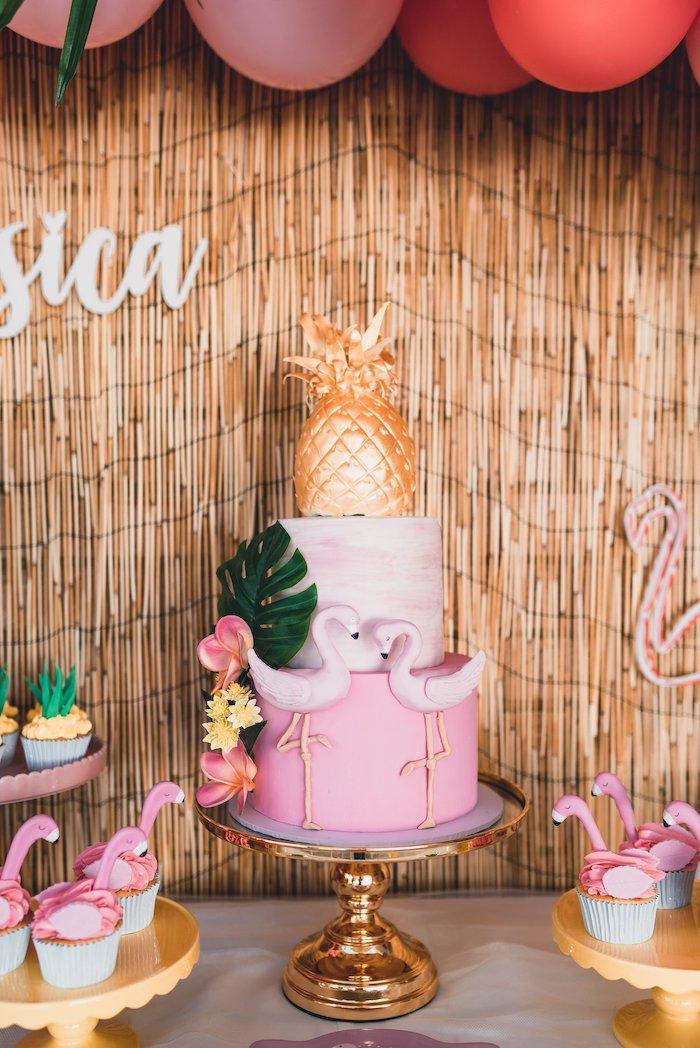 Tropical Flamingo Cake from a Tropical Flamingo Party on Kara's Party Ideas | KarasPartyIdeas.com (20)