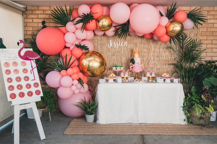 Flamingo Themed Dessert Table from a Tropical Flamingo Party on Kara's Party Ideas | KarasPartyIdeas.com (18)