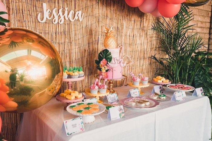 Flamingo-inspired Dessert Table from a Tropical Flamingo Party on Kara's Party Ideas | KarasPartyIdeas.com (16)