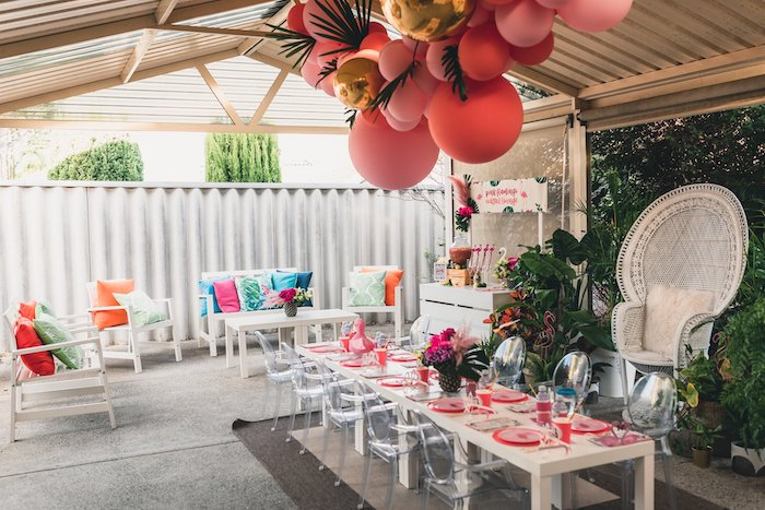 Flamingo-inspired Cocktail Lounge from a Tropical Flamingo Party on Kara's Party Ideas | KarasPartyIdeas.com (14)