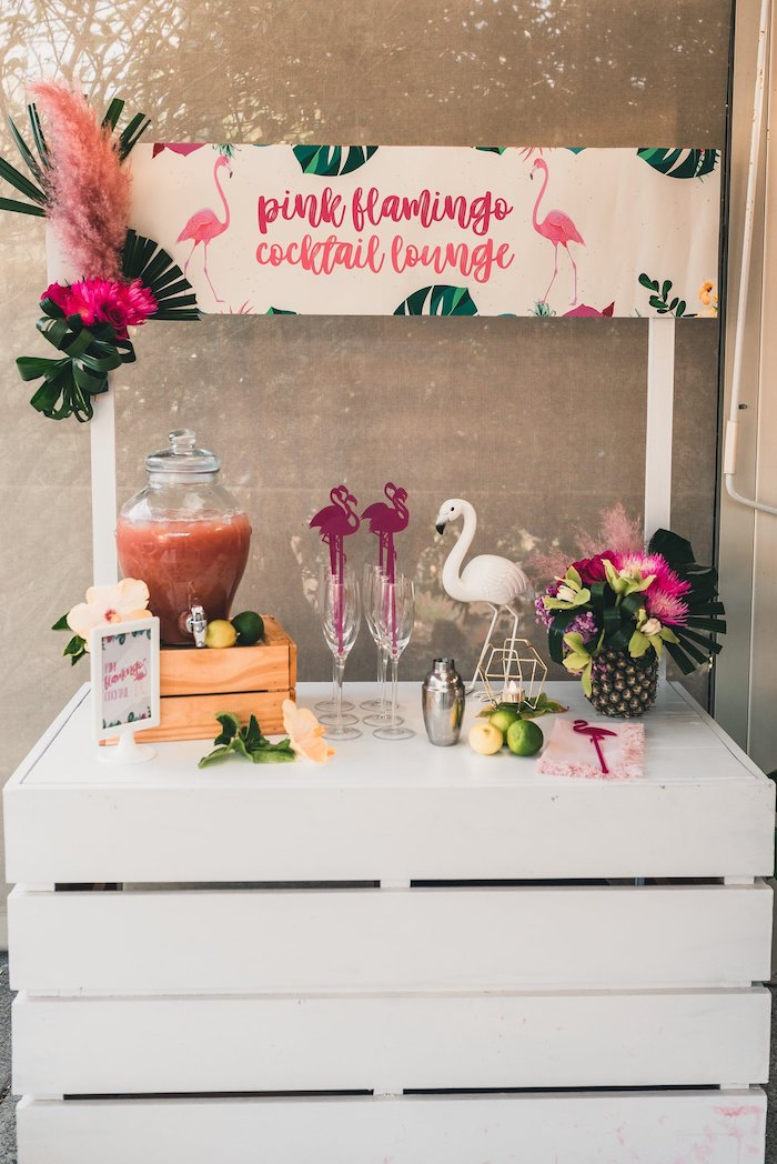 Pink Flamingo Cocktail Lounge from a Tropical Flamingo Party on Kara's Party Ideas | KarasPartyIdeas.com (13)