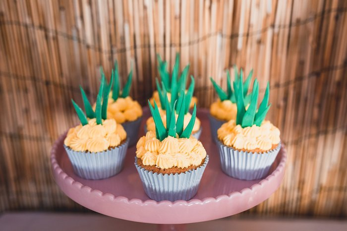 Pineapple Cupcakes from a Tropical Flamingo Party on Kara's Party Ideas | KarasPartyIdeas.com (10)