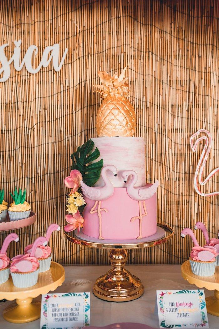 Flamingo Cake from a Tropical Flamingo Party on Kara's Party Ideas | KarasPartyIdeas.com (6)