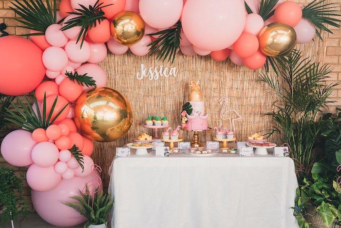 Flamingo Dessert Table from a Tropical Flamingo Party on Kara's Party Ideas | KarasPartyIdeas.com (5)