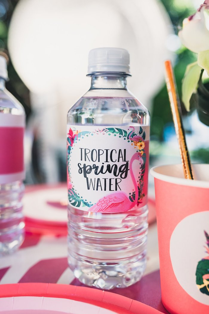Flamingo-labeled Water Bottle from a Tropical Flamingo Party on Kara's Party Ideas | KarasPartyIdeas.com (37)