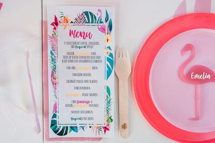 Tropical Flamingo Menu from a Tropical Flamingo Party on Kara's Party Ideas | KarasPartyIdeas.com (34)