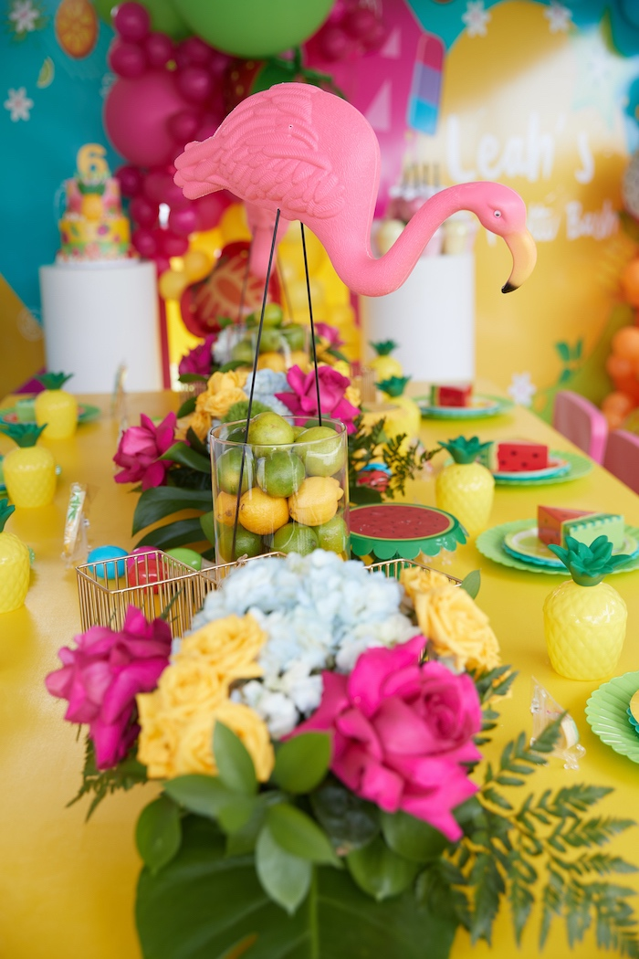 Tropical Table Centerpieces from a Tutti Frutti Birthday Party on Kara's Party Ideas | KarasPartyIdeas.com (8)