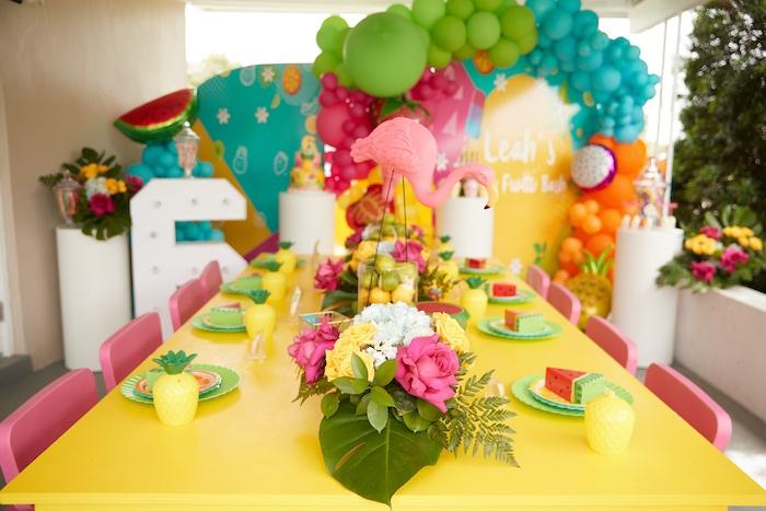Tutti Frutti Kid Table from a Tutti Frutti Birthday Party on Kara's Party Ideas | KarasPartyIdeas.com (19)