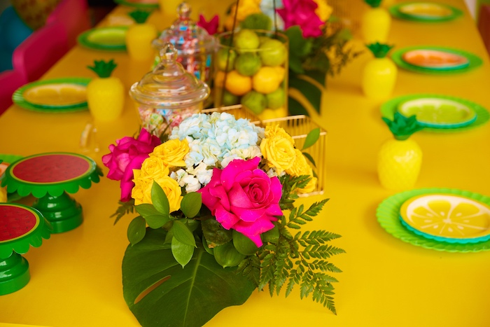 Tropical Floral Table Centerpiece from a Tutti Frutti Birthday Party on Kara's Party Ideas | KarasPartyIdeas.com (18)