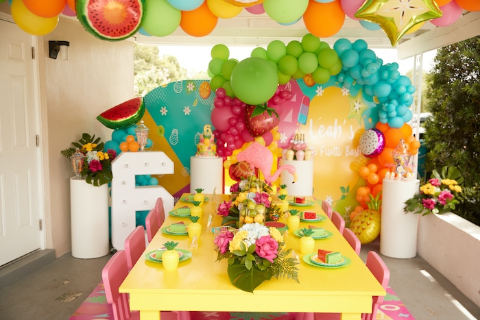 Tropical Party Table from a Tutti Frutti Birthday Party on Kara's Party Ideas | KarasPartyIdeas.com (16)
