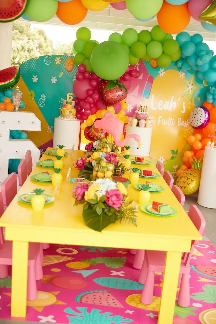 Tropical Kid Table from a Tutti Frutti Birthday Party on Kara's Party Ideas | KarasPartyIdeas.com (15)