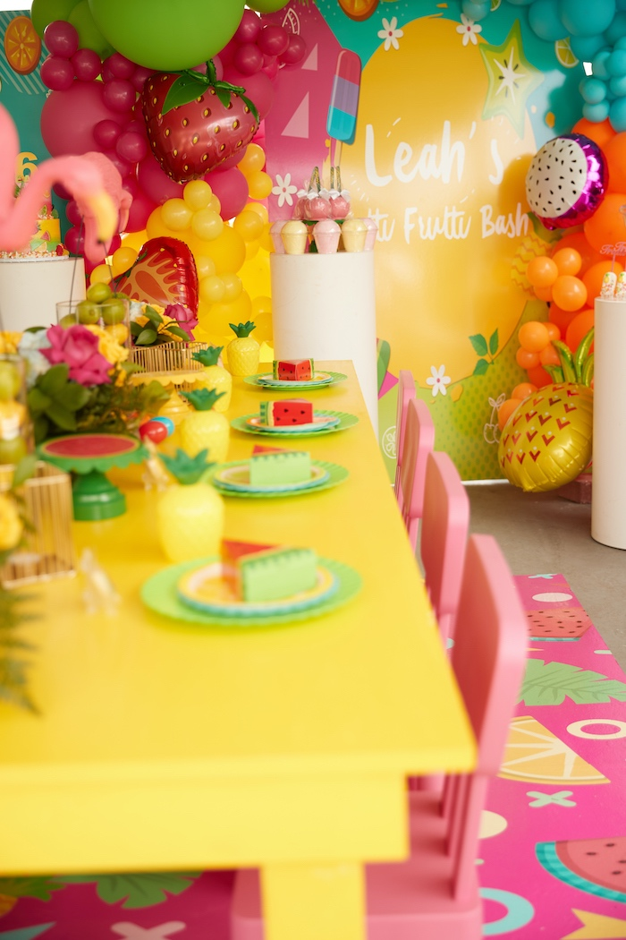 Tropical Guest Tablescape + Table Settings from a Tutti Frutti Birthday Party on Kara's Party Ideas | KarasPartyIdeas.com (14)