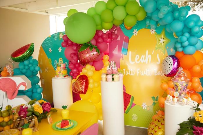 Tutti Frutti Pedestal Dessert Spread from a Tutti Frutti Birthday Party on Kara's Party Ideas | KarasPartyIdeas.com (13)