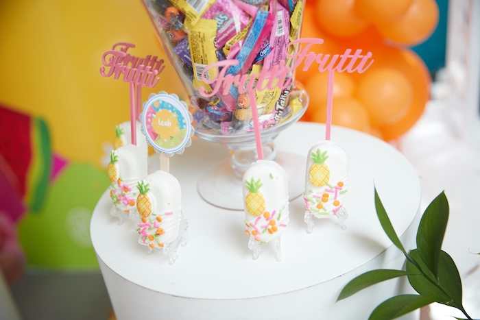 Tropical Cakesicles from a Tutti Frutti Birthday Party on Kara's Party Ideas | KarasPartyIdeas.com (12)