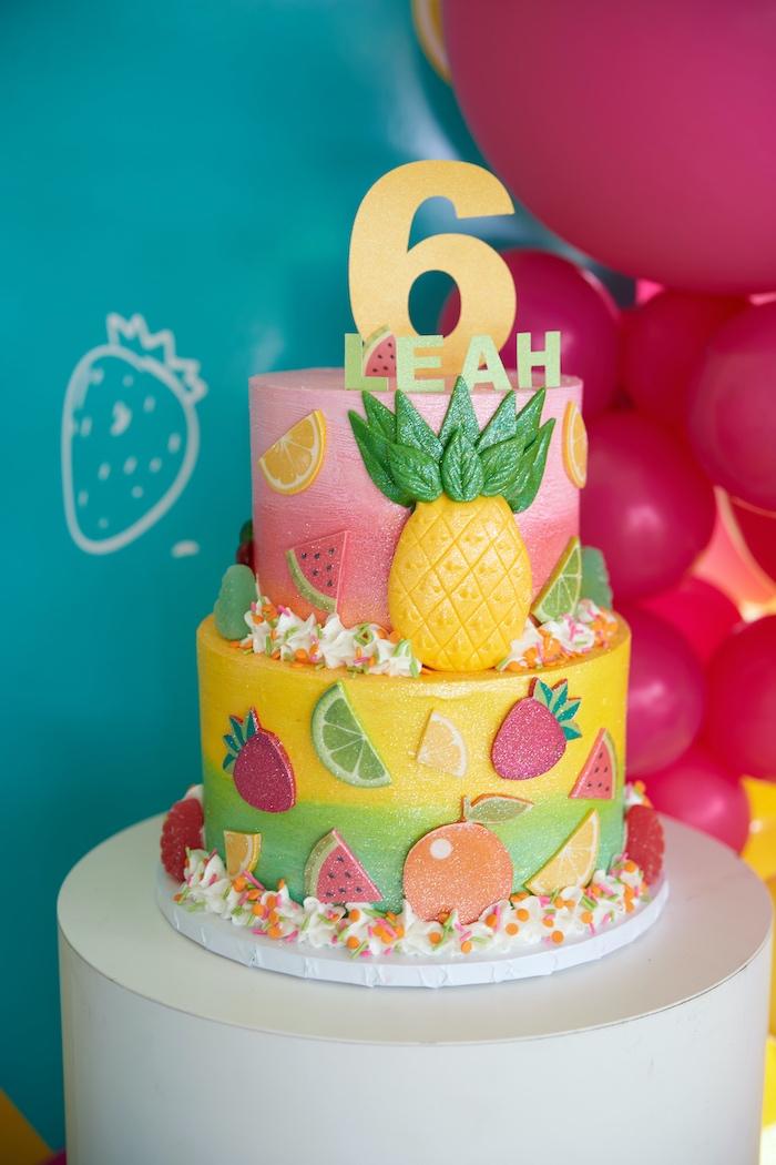 Tutti Frutti Birthday Cake from a Tutti Frutti Birthday Party on Kara's Party Ideas | KarasPartyIdeas.com (11)