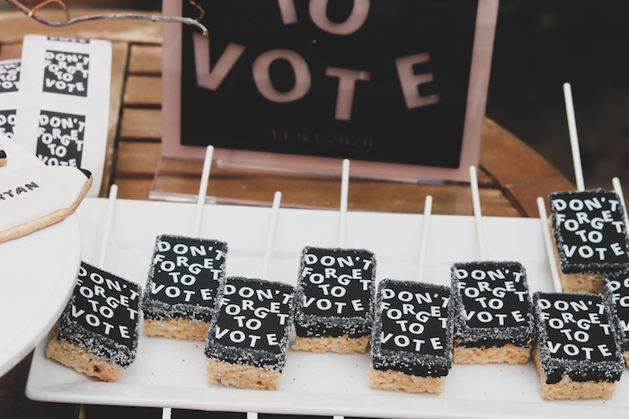 """""""Don't Forget to Vote"""" Rice Krispie Treats from a """"Don't Forget to Vote"""" Party on Kara's Party Ideas 