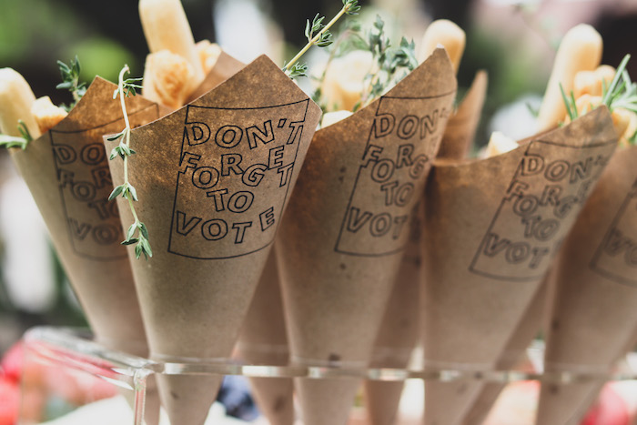 """Stamped """"Don't Forget to Vote"""" Cones from a """"Don't Forget to Vote"""" Party on Kara's Party Ideas 