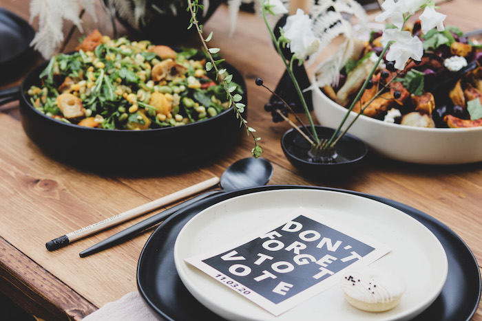 """Black + White 'Vote' Table Setting from a """"Don't Forget to Vote"""" Party on Kara's Party Ideas 