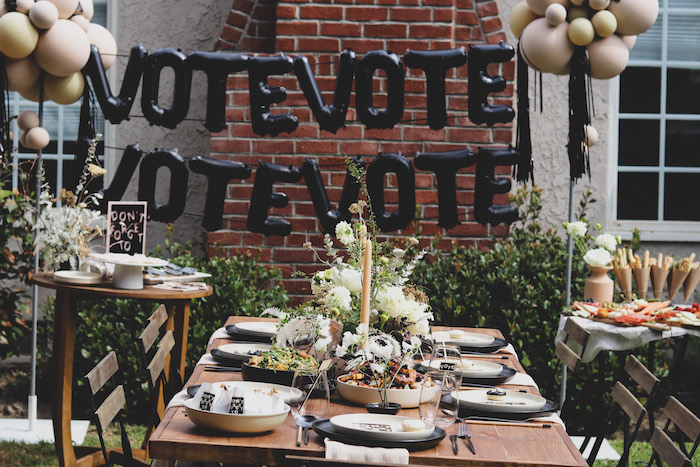 """Black + White VOTE Luncheon Table from a """"Don't Forget to Vote"""" Party on Kara's Party Ideas 