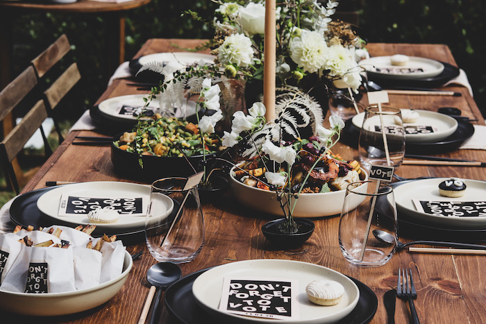 """Luncheon Table from a """"Don't Forget to Vote"""" Party on Kara's Party Ideas 